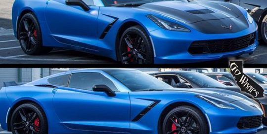 Chevrolet Corvette wrapped in 1080 Satin Perfect Blue and Satin Black vinyls