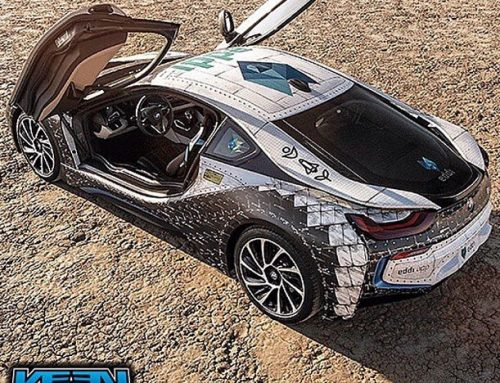 Bmw I8 wrapped in with custom printed IJ180Cv3