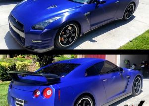 Nissan GTR wrapped in 1080 Brushed Steel Blue vinyl
