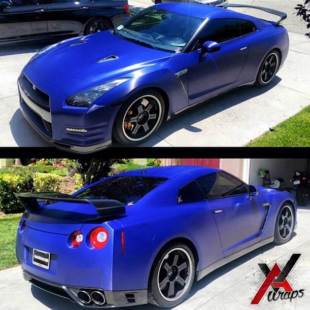 Nissan GTR wrapped in 1080 Brushed Steel Blue vinyl