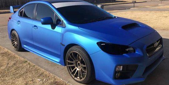 Subaru Wrx wrapped in Satin Blue Aluminum vinyl