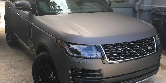 Range Rover wrapped in Matte Charcoal Metallic vinyl