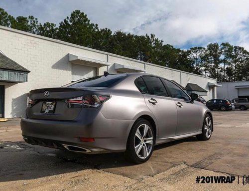 Lexus wrapped in Satin Charcoal Metallic vinyl