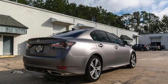 Lexus wrapped in Satin Charcoal Metallic vinyl