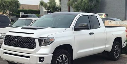 Toyota Tundra wrapped in 3M 1080 Satin Pearl White and Satin Black vinyls