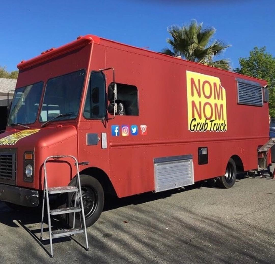 Food Truck wrapped in Satin Red Aluminum vinyl