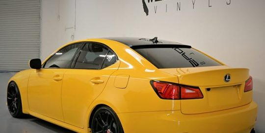 Lexus IS250 wrapped in Avery SW Gloss Dark Yellow vinyl