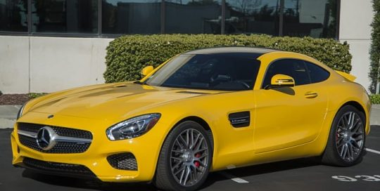 Mercedes GTS wrapped in Avery SW Gloss Dark Yellow vinyl