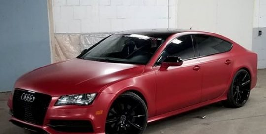 Audi A7 wrapped in 3M 1080 Satin Vampire Red and Gloss Black vinyls