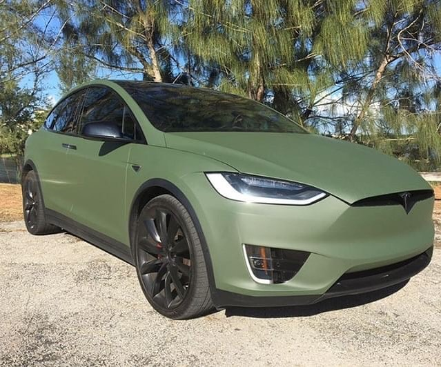 Tesla wrapped in Matte Military Green vinyl