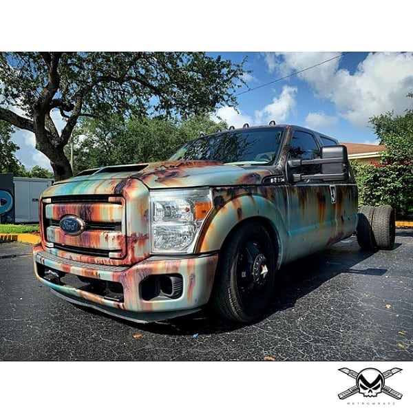 Ford Super Duty wrapped in custom printed 3M IJ180C-120 and 8520 vinyl