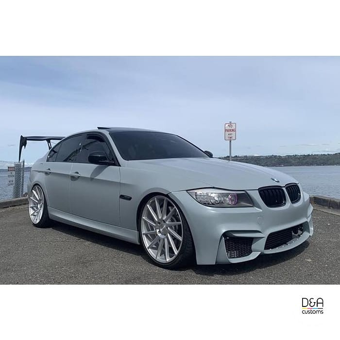 Bmw 335i wrapped in 3M 1080 Satin Battleship Gray vinyl