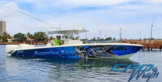 Bahama41 Boat wrapped in custom printed Avery 1105ezrs and 1360z
