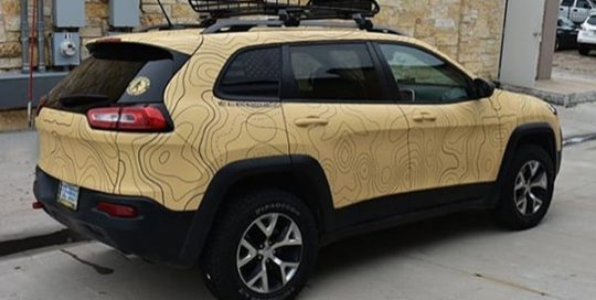 Jeep wrapped in custom printed Avery 1105ezrs &1380z Matte laminate
