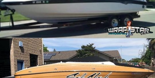 Reinell Boat wrapped in Avery Diamond Gold vinyl