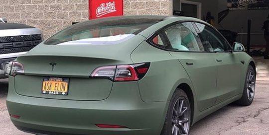 Tesla wrapped in Avery Matte Olive vinyl