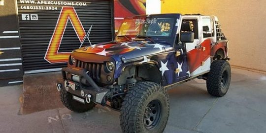 Jeep Wrangler wrapped in custom printed 3M IJ80 and 8518 Gloss laminate