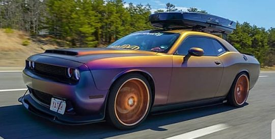 Dodge Challenger wrapped in Avery ColorFlow Satin Rushing Riptide Cyan/Purple shade shifting vinyl