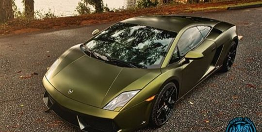 Lamborghini Gallardo wrapped in the new Avery SW Satin Hope Green vinyl
