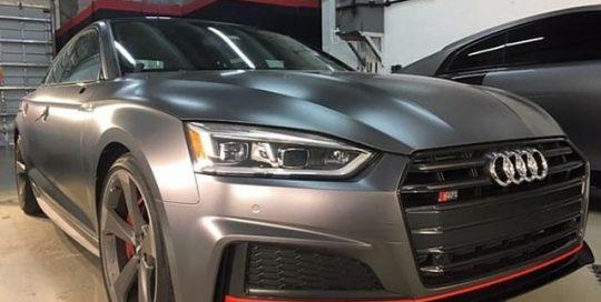Audi wrapped in Satin Charcoal Metallic vinyl