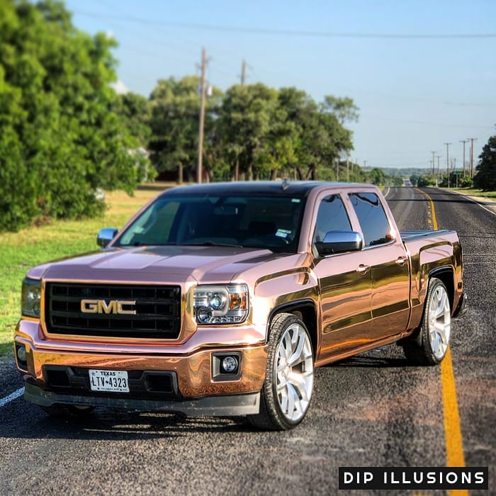 GMC wrapped in Avery SW Rose Gold Chrome vinyl