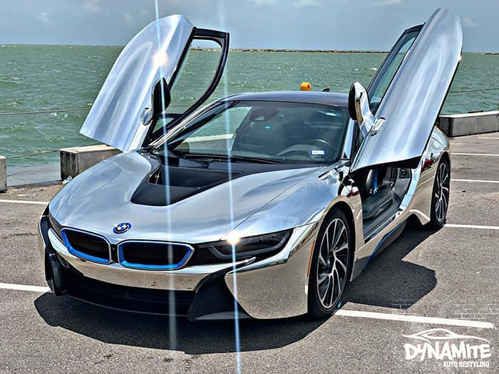 Bmw i8 wrapped in 3M 1080 Gloss Silver Chrome vinyl