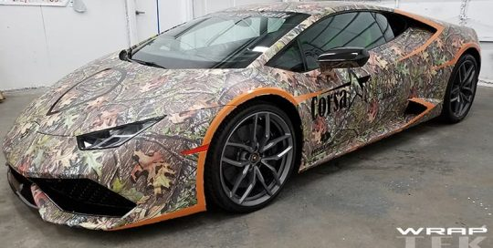 Lamborghini Huracan wrapped in Mossy Oak Obsession and 3M 780mC vinyl