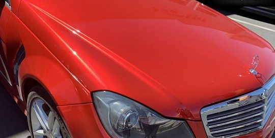 Mercedes Benz wrapped in ORAFOL_Americas 970RA Gloss Luscious Lips & 280G Stone Guard vinyl