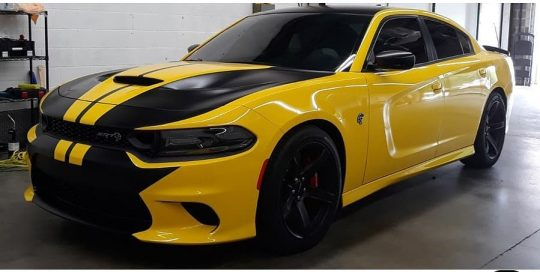 Dodge Charger wrapped in 3M 1080 Gloss Bright Yellow and Satin Black vinyls