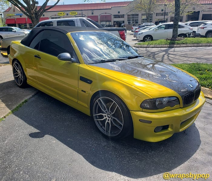 Bmw M3 wrapped in 3M 1080 Gloss Lemon Sting