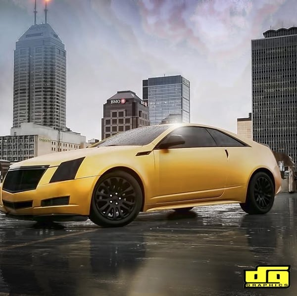 Cadillac wrapped in the new Avery SW Satin Energetic Yellow vinyl