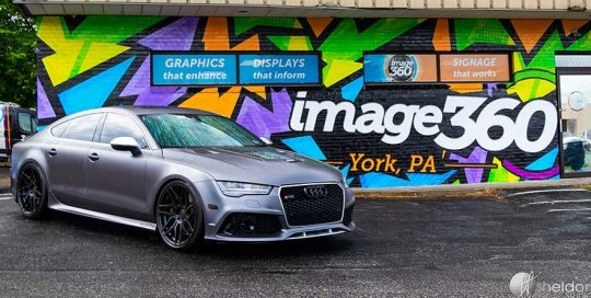 Audi RS7 wrapped in 3M 1080 Satin Dark Gray vinyl