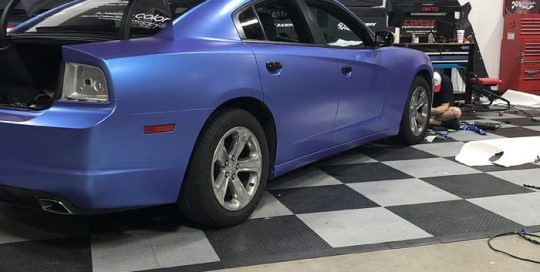 Dodge Charger wrapped in 3M 1080 Satin Glacial Frost