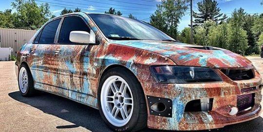 Mitsubishi Evolution wrapped in custom printed Arlon SLX vinyl