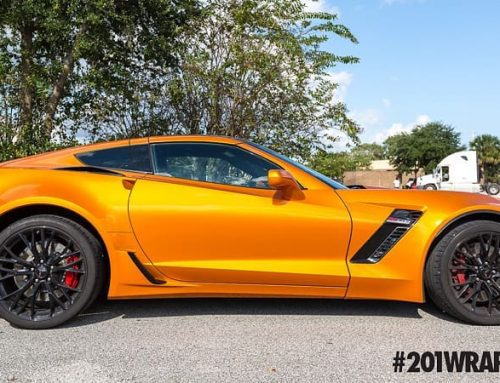 Chevrolet Corvette wrapped in ORAFOL_Americas 970RA Gloss Tangerine Dream vinyl