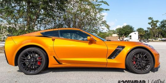 Chevrolet Corvette wrapped in ORAFOL_Americas 970RA Gloss Tangerine Dream vinyl