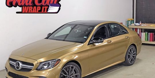 Mercedes Benz wrapped in 3M 1080 Gloss Gold Metallic vinyl