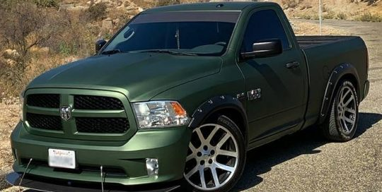Dodge Ram wrapped in Avery SW Matte Moss Green Metallic vinyl