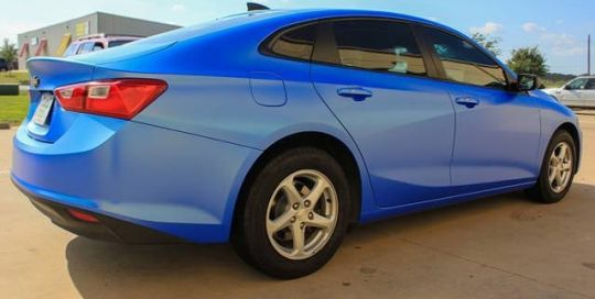 Chevrolet wrapped in Avery SW Satin Wave Blue Metallic vinyl