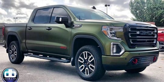 GMC Sierra wrapped in Avery SW Satin Hope Green vinyl