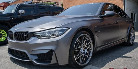 Bmw wrapped in 3M 1080 Satin Dark Gray vinyl