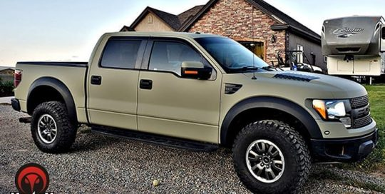 Ford F150 wrapped in Avery SW Matte Khaki Green vinyl