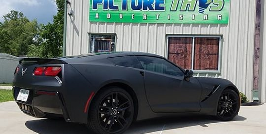 Chevrolet Corvette wrapped in 3M 1080 Matte Black vinyl