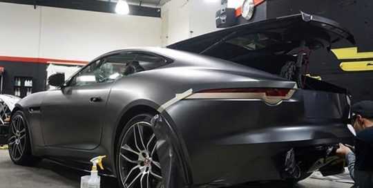 Jaguar F Type wrapped in 3M 1080 Satin Dark Gray vinyl