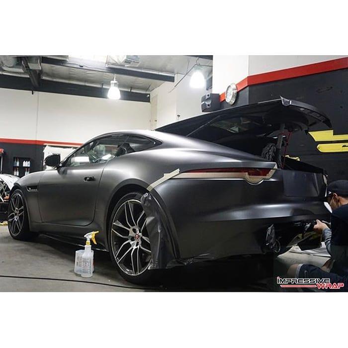 Jaguar F Type wrapped in 3M 1080 Satin Dark Gray vinyl