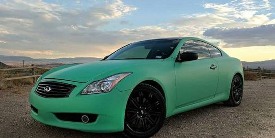 Infiniti wrapped in Avery SW Matte Emerald Green vinyl