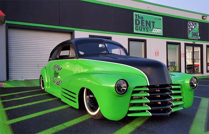Old Skool Car wrapped in in ORAFOL_Americas 970RA Gloss Grass Green vinyl