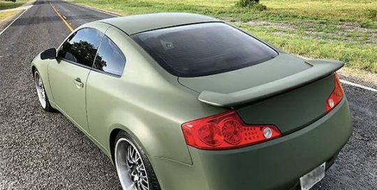 Infiniti G37 wrapped in 3M 1080 Matte Military Green vinyl