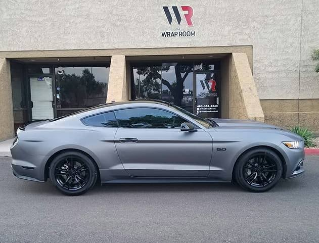 Ford Mustang wrapped in Avery SW Matte Charcoal Metallic vinyl
