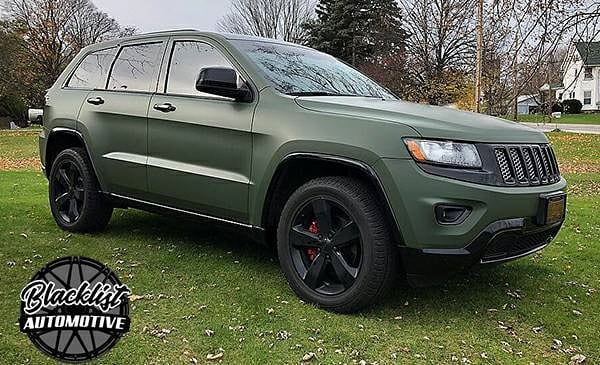 Jeep wrapped in 3M 1080 Matte Military Green vinyl
